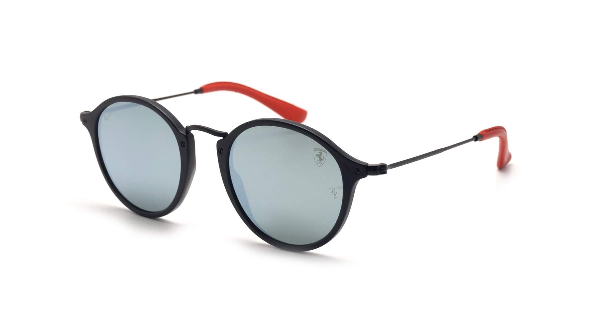 5bf8213674 Sunglasses Ray-Ban Round Scuderia Ferrari Black Matte RB2447NM F602 30  49-21 Medium Mirror