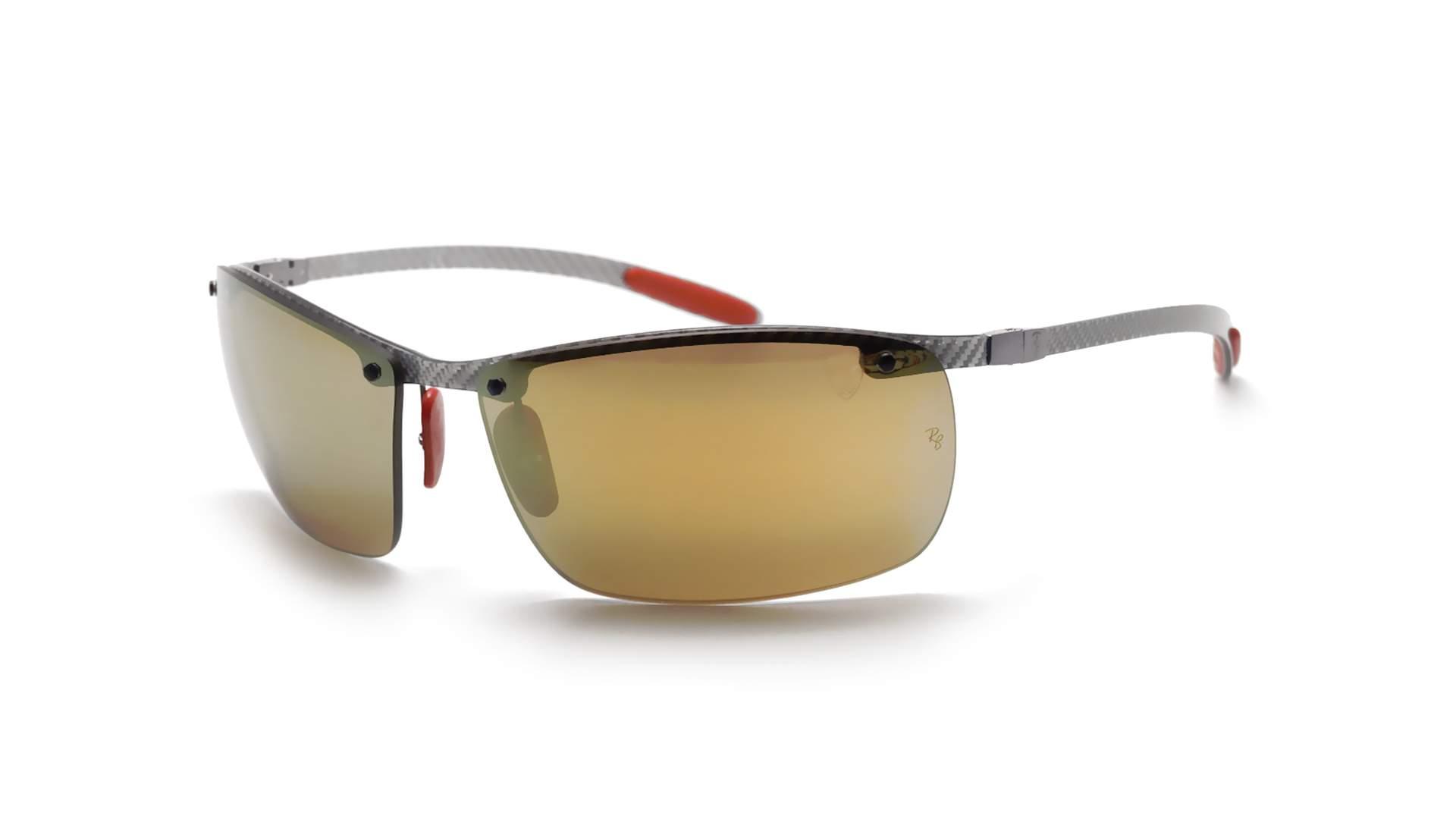 e37d58c0f Sunglasses Ray-Ban Fibre Carbon Scuderia Ferrari Grey Chromance RB8305M  F006/6B 65-14 Large Polarized Mirror