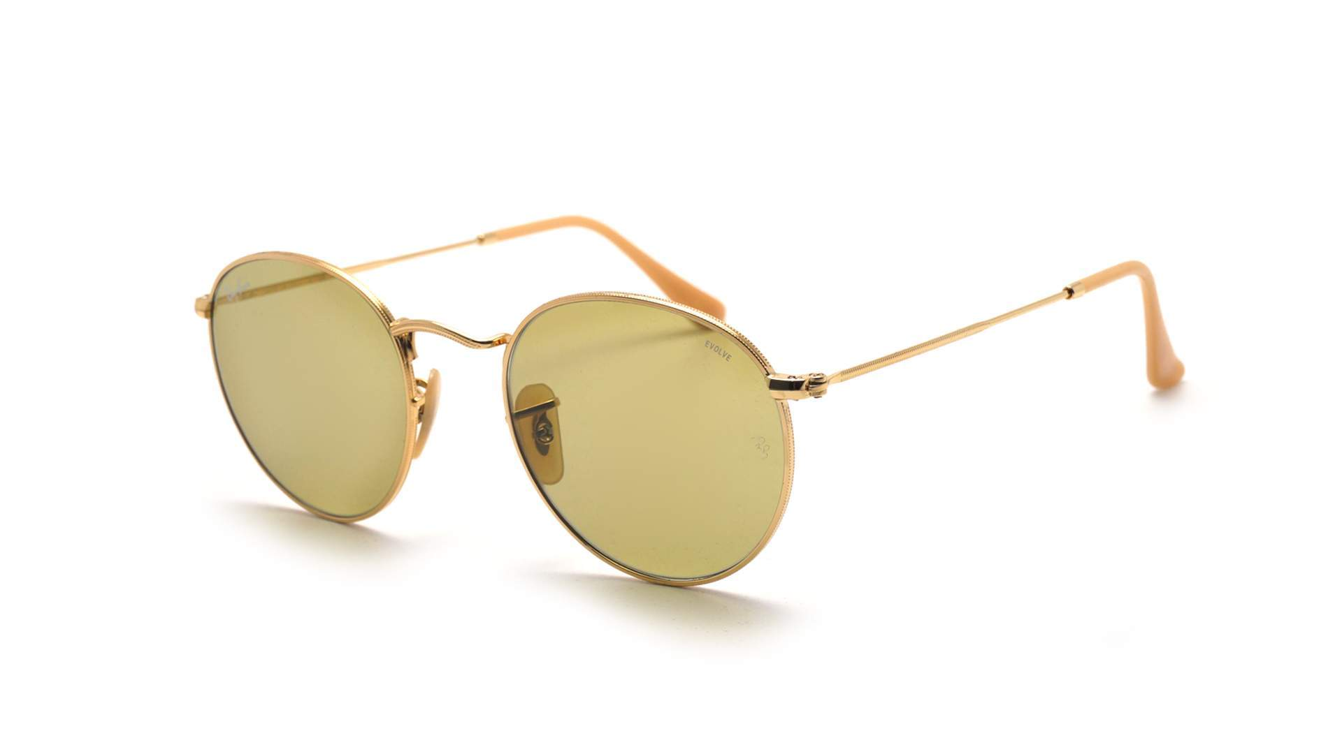 Sunglasses Ray-Ban Round Evolve Gold RB3447 9064 4C 53-21 Large Photochromic c83af9aa01