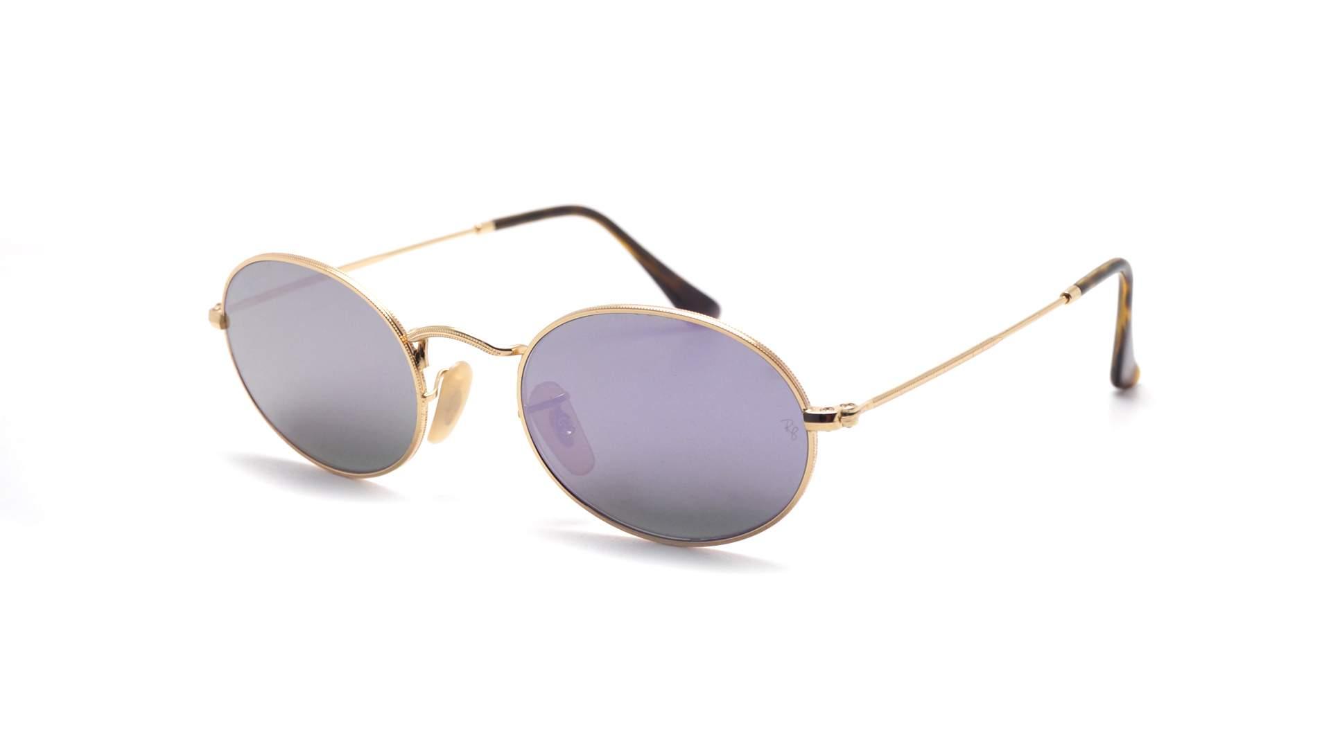 d4d4aed0c6 Sunglasses Ray-Ban Oval Flat Lenses Gold RB3547N 001 8O 51-21 Medium Mirror