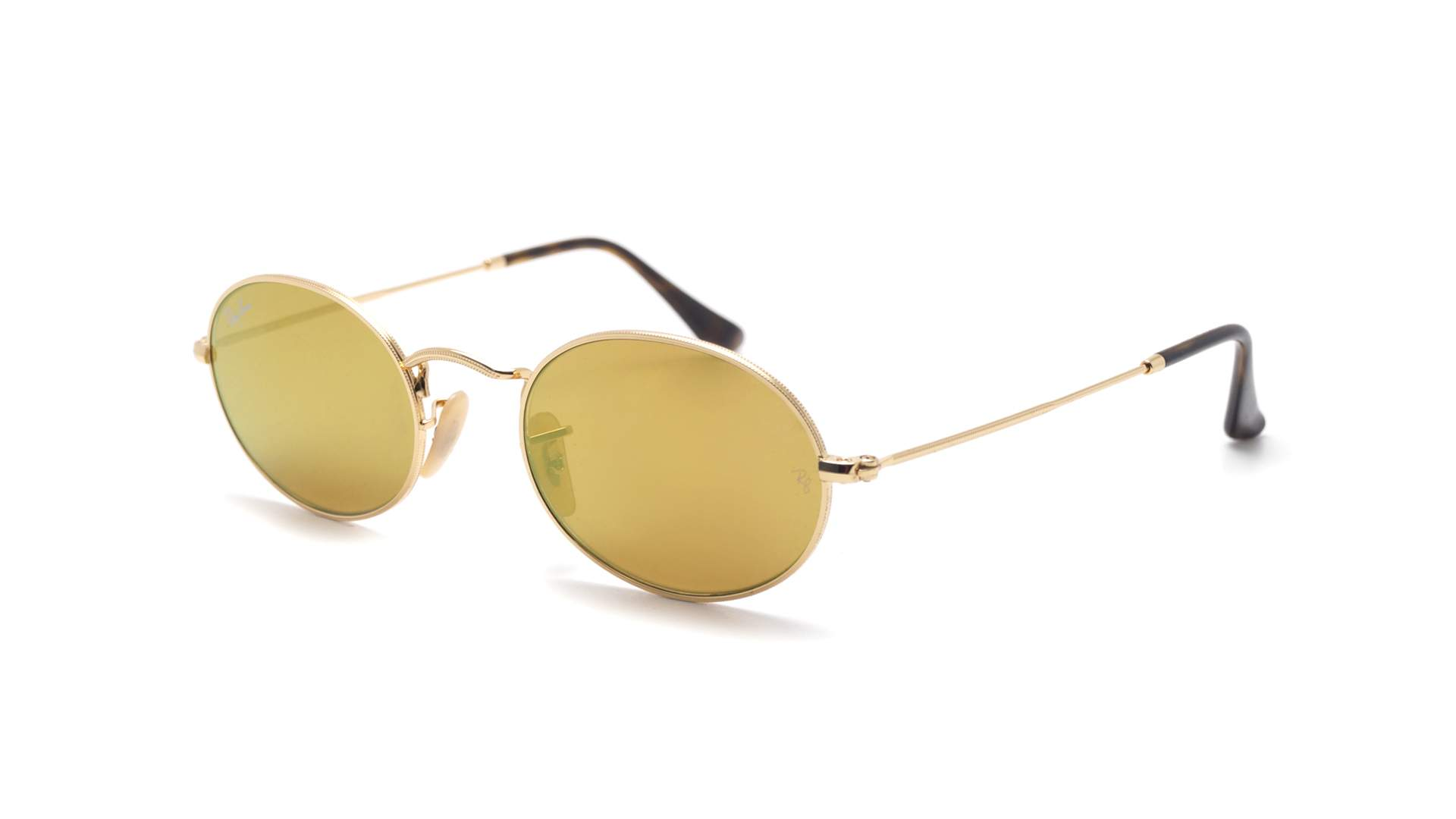 d4692b4bc8 Sunglasses Ray-Ban Oval Flat Lenses Gold RB3547N 001 93 51-21 Medium Mirror