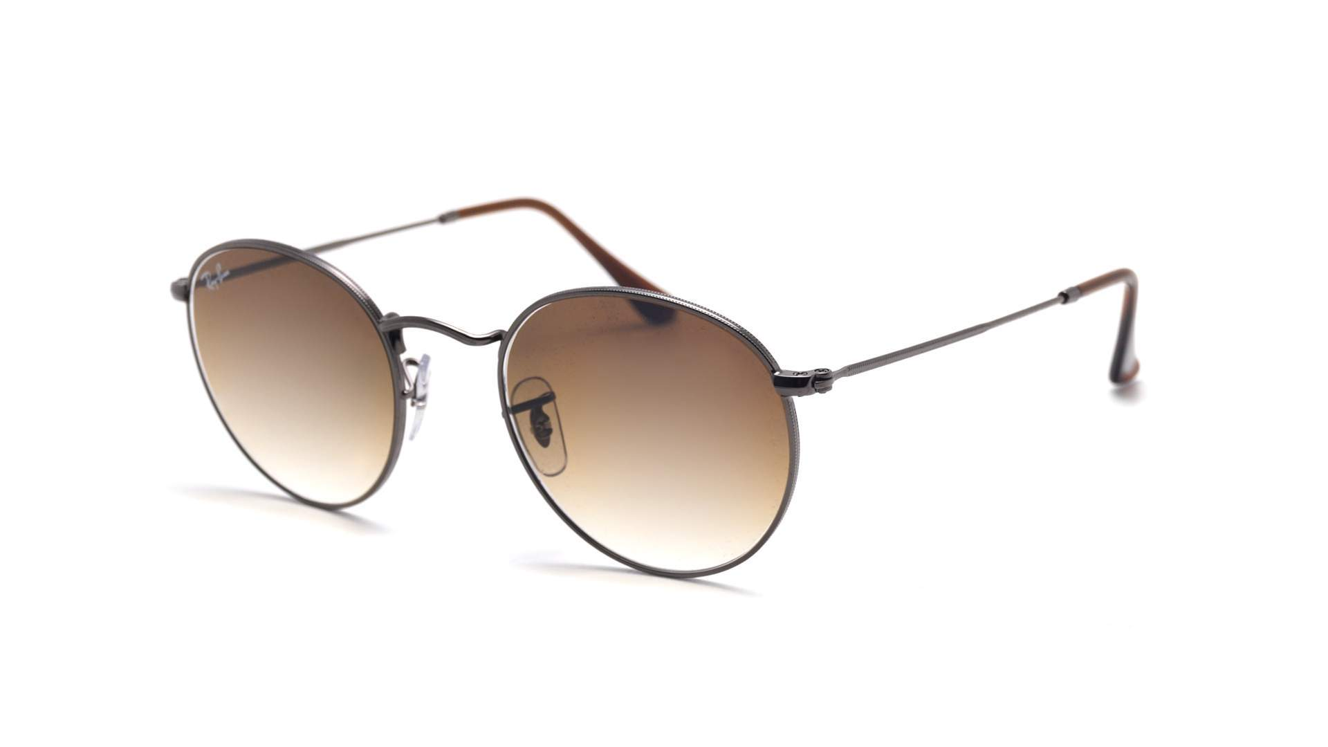 e502b350eb937 Sunglasses Ray-Ban Round metal Flat Lenses Brown RB3447N 004 51 53-21 Large  Gradient