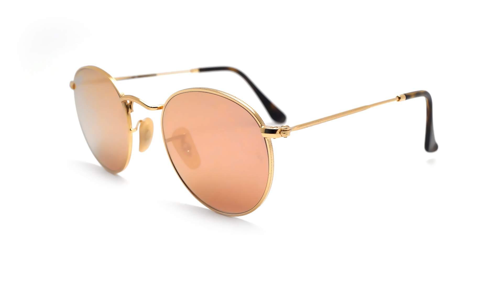 6e0979eb46 Sunglasses Ray-Ban Round Metal Flat Lenses RB3447N 001 Z2 47-21 Gold Small  Mirror