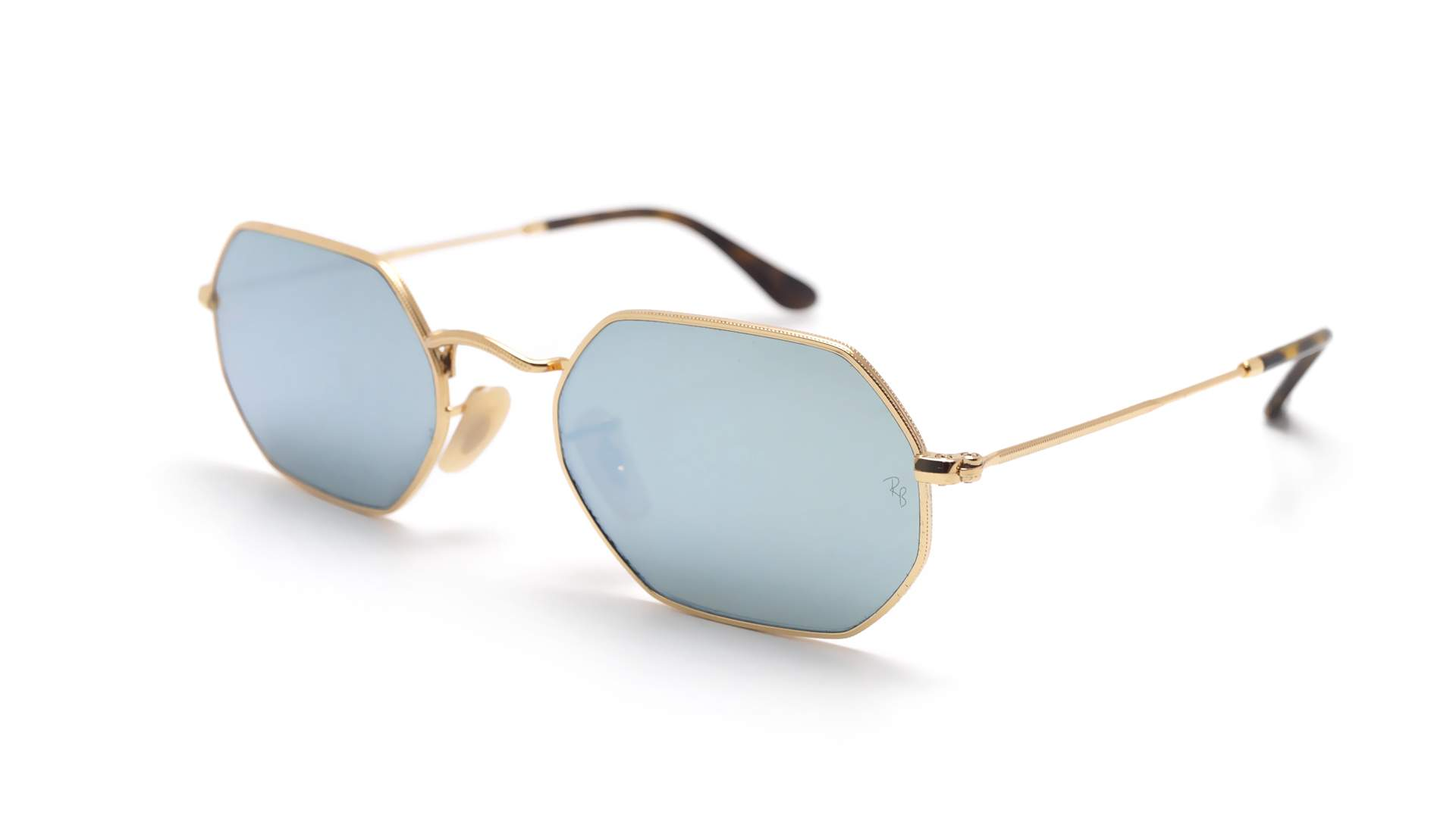 fd02cc2301 Sunglasses Ray-Ban Octagonal Gold RB3556N 001 30 53-21 Medium Mirror