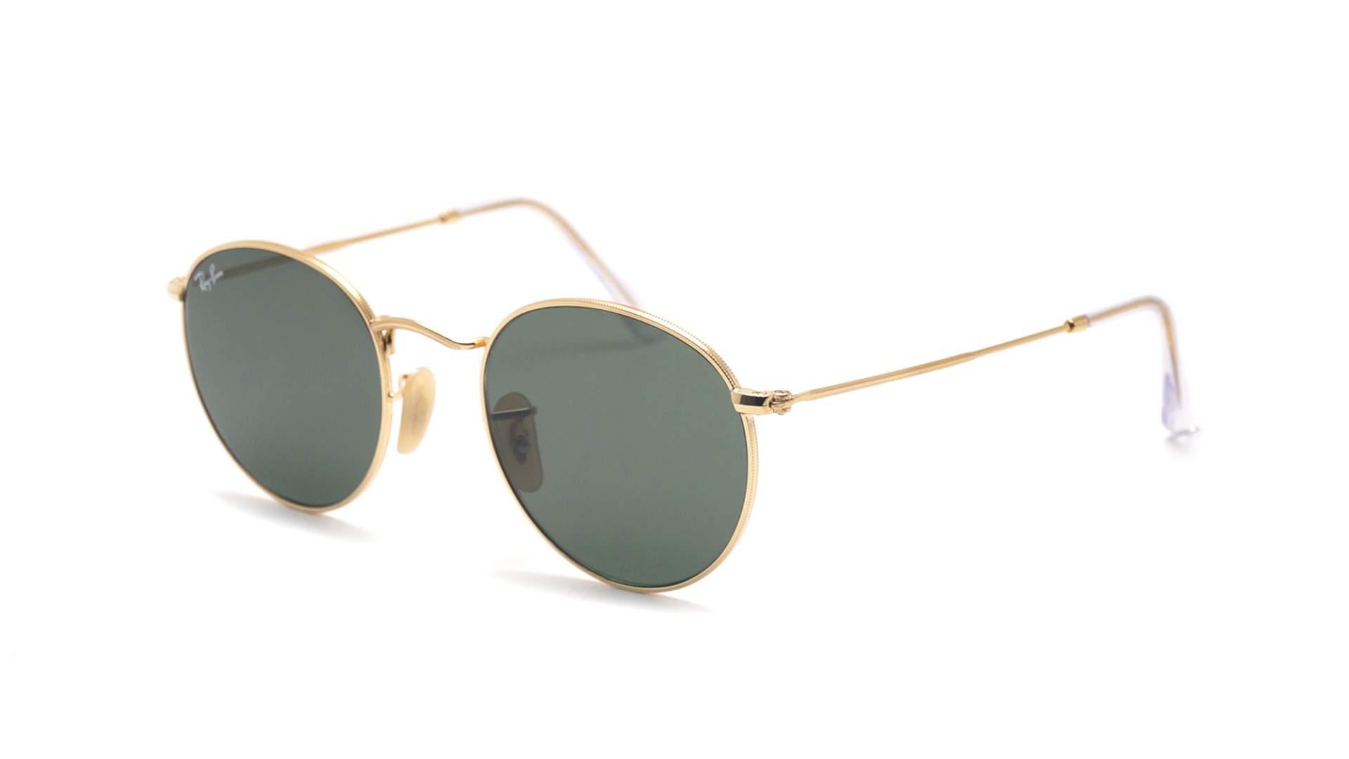 e6a55fda86f Sunglasses Ray-Ban Round Metal Flat LensesGold RB3447N 001 50-21 Medium