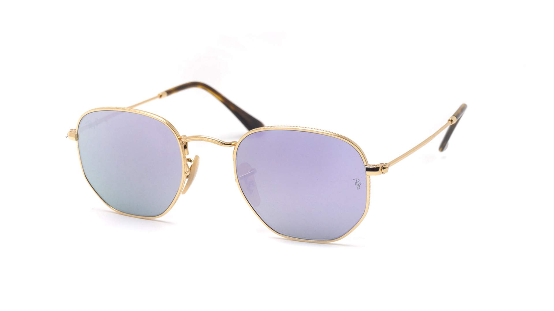 Sunglasses Ray-Ban Hexagonal Flat Lenses Gold RB3548N 001 8O 48-21 Small  Mirror c10133344bf4
