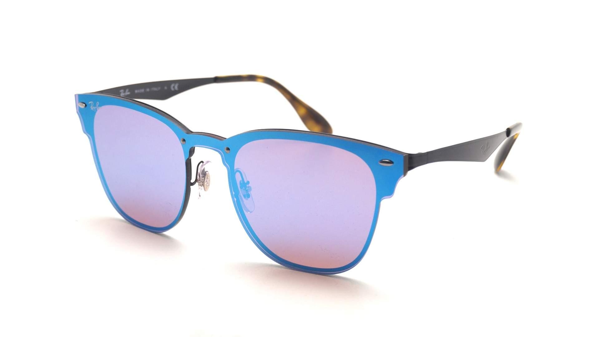 aef2d4d991052 Sunglasses Ray-Ban Clubmaster Blaze Black RB3576N 153 7V Large Mirror