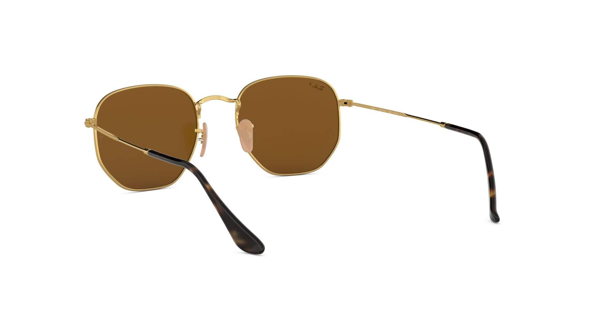 592b91fa771bd Sunglasses Ray-Ban Hexagonal Flat Lenses Gold RB3548N 001 57 51-21 Medium  Polarized