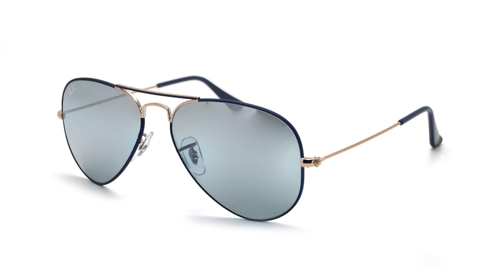 d2df85b9f9b Sunglasses Ray-Ban Aviator Mirror Blue Mat RB3025 9156/AJ 55-18 Small  Gradient Flash
