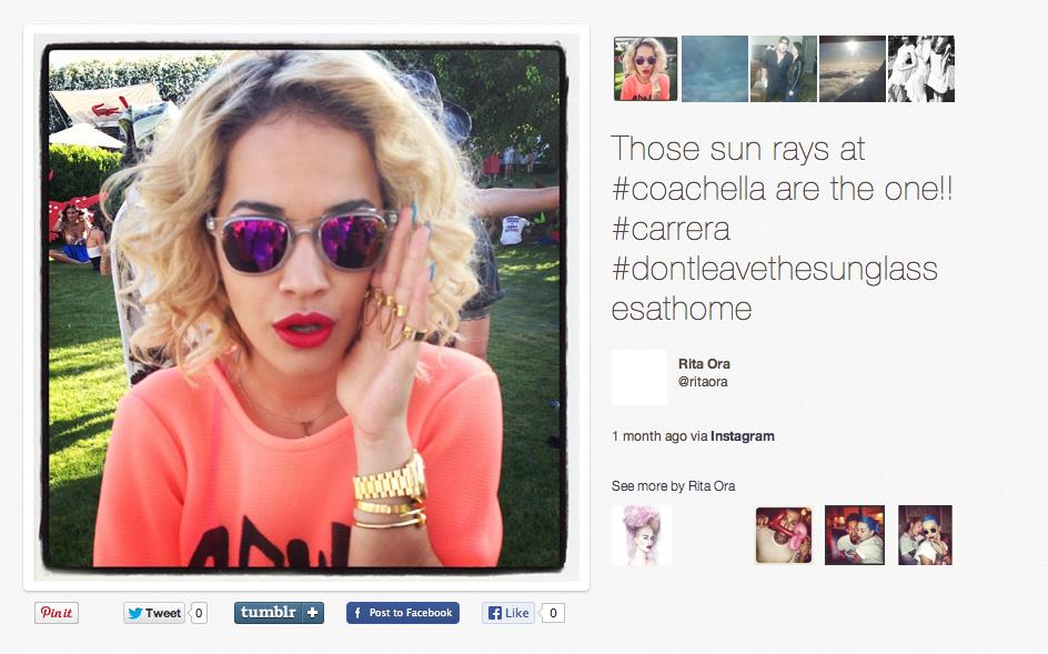 641ec028390 Les lunettes de soleil Carrera de Rita Ora - Visiofactory