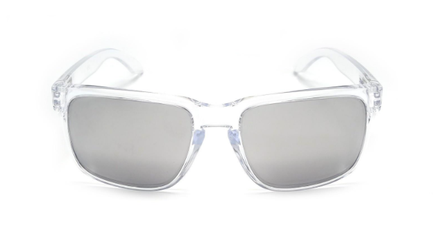 Lunettes de soleil Oakley Holbrook Polished Clear OO 9102 06 Clear Chrome Verres iridium